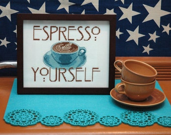 Espresso Yourself Coffee Quote Cross Stitch Pattern Instant Download