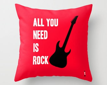Decorative Throw Pillows, Rock Accent Pillows, Guitar pillow, Boyfriend gift, Gifts ideas for men