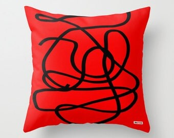 Decorative pillow cover - red pillows for sofa - couch pillow - contemporary pillow case - Modern Euro sham pillow