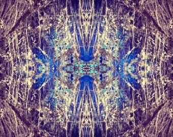 Labradorite Mineral Photograph geometric, psychedelic kaleidoscope, trippy, psy art, cobalt blue, purple, vibrant, wall art decor