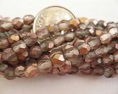 100 Apollo Gold Matte Czech Fire Polished Glass Beads 4mm