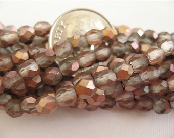 100 Apollo Gold Matte Czech Fire Polished Glass Beads 4mm
