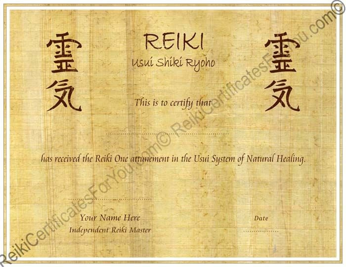 reiki certificate template free