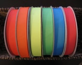 """7/8"""" Neon Grosgrain Ribbon--5 yards--YOU CHOOSE COLOR--6 Colors Available"""