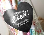 Chalkboard Style Love is Sweet Wedding Labels - Heart Wedding Stickers - Envelope Seals - Favor Labels - Goody Bag Labels - Set of 50