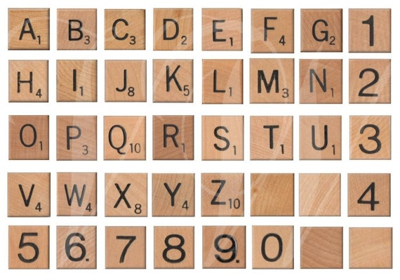 Vintage WOODEN SCRABBLE LETTERS And Numbers By
