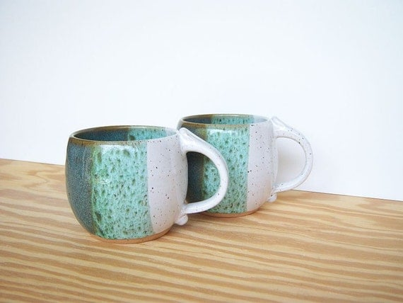 Pottery Mugs in Sea Mist and White Glazes - Set of 2