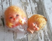 2 Vintage Blonde Little Angel Girl Doll Dolly Head Cake Toppers Crafts Altered Art Ornaments Dioramas