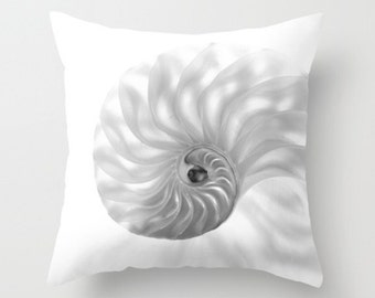 Nautilus Pillow Cover Chambered Nautilus Pillow Cover Ocean Decor Sea Marine Decor Seashell Pillow Beach Decor Ocean Art Nautilus