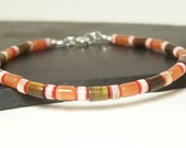 Men's Bracelet - Mimalist. Orange, Brown, White and Red, Sterling Silver