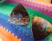 Shimmery Dark Pastel Night Tri-Sided Post Earrings