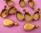 10 Antique Brass, Brass Ox Prong Double 18x13 Pear and 20SS Round Settings 1 Ring Closed Back Earring Drops Charm Settings Pendant Settings