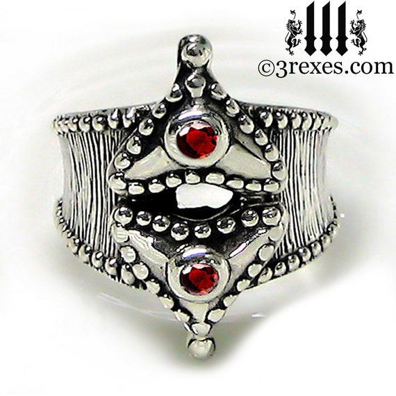 Silver Medieval Fairy Tale Heart Ring Red Garnet Size 6