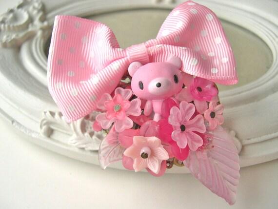 Hair Clip kawaii fairy kei lolita accessory teddy bear kanzashi PINK