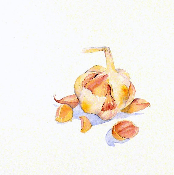 Vegetable Art OOAK - Original Painting Watercolor - Still life - Mothers Day - Garlic Cloves Food Art Women Kitchen Decor Home Decor - 8 x 8