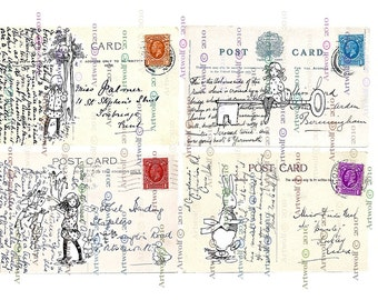 Instant Digital Download WONDERLAND ALICE Printable Vintage Postcards Papercrafts Scrapbooking Card making Invitations