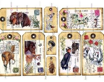 Instant Download DIGITAL HORSE TAGS Printable  Digital Download Vintage Birthday Christmas Scrapbooking Card Making Altered art Atc