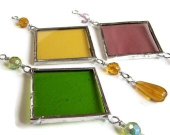 Spring Set of Three Stained Glass Suncatchers Pastel Colors