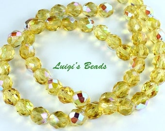 25 Light Topaz AB Czech Firepolished Faceted Round Glass Beads 8mm
