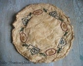 Birds and Blooms Primitive Candle Mat, Hand Stitched, Flowers, Birds