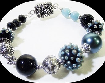 Blue-Black Sea Urchin Bracelet (Coral Reef Collection)  by Gonet Jewelry Design