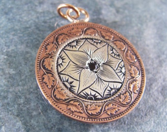 Hand Engraved Art Nouveau Copper Coin with Sterling Silver Pendant