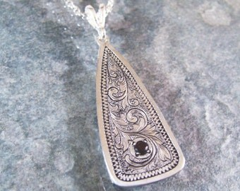 Hand Engraved Sterling Silver Scrollwork Necklace with Natural Faceted Garnet