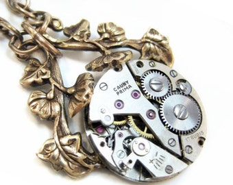 Mechanical Vines Steampunk necklace, steampunk pendant necklace watch jewelry statement necklace, steampunk jewelry, steampunk jewellery