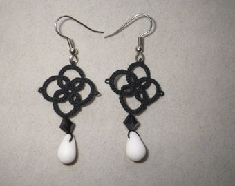 Black tatted earrings with Swarovski crystal and polymer drop, tatting jewelry, handmade lace earring, lightweight, elegant, classic design