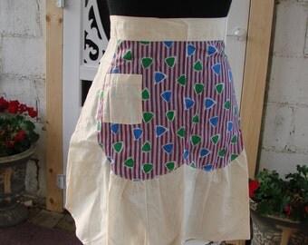 Vintage Pretty Ladies Half Print Apron Feed Sack Fabric