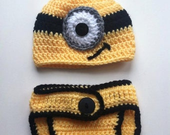 Despicable Me - Minion Baby Hat & Diaper Cover - 3 to 6 months