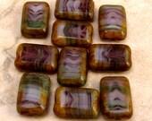 Czech Glass Beads, Rectangle, Cut Window, Purple Agate 12x8 MM, 10 Pc. C299