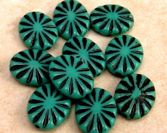 Czech Glass Beads Engraved Oval, Turquoise, Black 14x11 MM, 10 Pc. C292