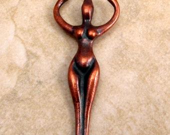 Goddess Pendant, Bronze Patina, Mykonos Casting, 50x20 MM, M191