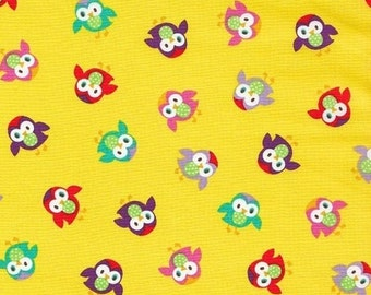 1 yard Yellow Owls Momo Fabric Alice Kennedy for Timeless Treasures