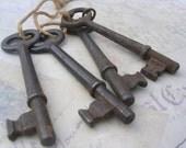 Downton Abbey Set of 4 Antique Iron Skeleton Keys