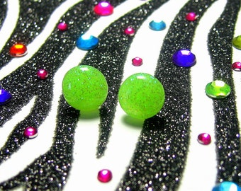 Neon Green Earrings, Round Resin Studs, Lime Glitter Jewelry
