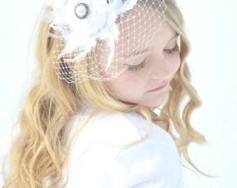 NEW WEDDING Headband / Christening white wedding Headband wedding headband  flower girl headband / white headband / girls feather fascinator