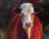 Cow Painting - Patience - 8x16 Original Painting
