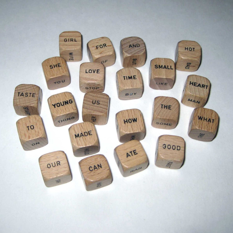 Vintage Wooden Scrabble Sentence Word Cubes by grandmothersattic