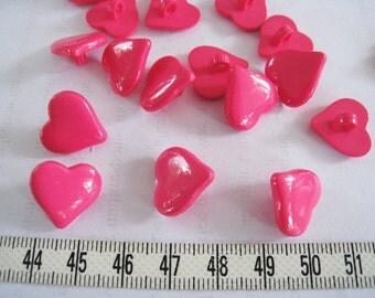 30pcs of Shank Hot Pink  Heart Button  - 15mm