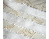 Marie's Roses in Innocent Snow on Snow  - Romantic Soft Victorian FRENCH Design Ribbon Trim with Embroidered Roses and Picot Fringe Edges