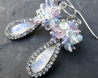 Moonstone earrings - sterling silver - white topaz pavé - amethyst - mermaid bride - beaded cluster earrings - light blue bridal jewelry