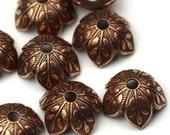Bead Cap Textured Leaf Copper Ox 8mm (4) FI597