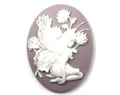 Cameo Fairy and Flowers Resin Lilac and White 40x30mm (2) IC086 - mksupplies