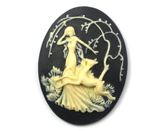 Cameo Woodland Lady and Deer Resin Black and Ivory 40x30mm (2) IC084
