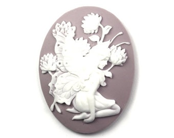 Cameo Fairy and Flowers Resin Lilac and White 40x30mm (2) IC086