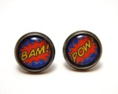 BAM POW Studs - Comic book expression word earrings on SMALL 10mm circular gunmetal posts - Geek Chic Geekery Comic Nerd Superhero