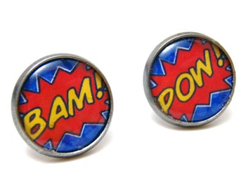 BAM POW Studs - Comic book expression word earrings on LARGE 14mm circular gunmetal posts - Geek Chic Geekery Comic Nerd Superhero