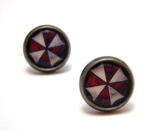 Resident Evil Umbrella Corporation Studs - Red and white umbrella corp logo post earrings - Geek Chic Gamer - SMALL 10mm